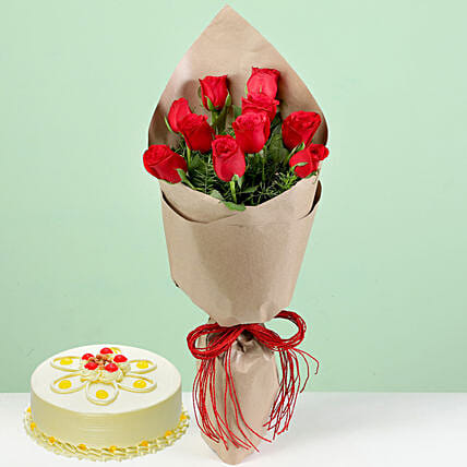 Bouquet Of Red Roses & Butterscotch Cake: