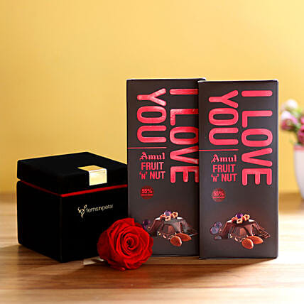 Forever Red Rose & Amul Chocolates: Flower Delivery in Kasaragod
