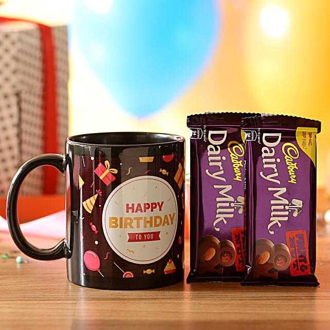Birthday Wishes Mug & Dairy Milk Fruit N Nut: Cadbury Chocolates