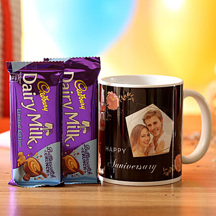 Personalised Anniversary Wishes Mug & Chocolates: Gifts for Wedding Anniversary