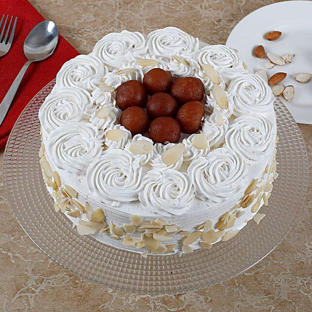 Vanilla Fusion Gulab Jamun Cake: Eggless Cakes