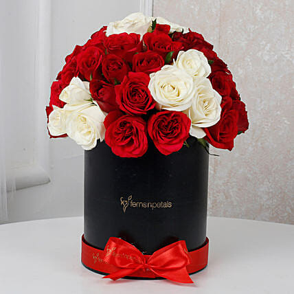White & Red Roses Box Arrangement: Exotic Rose Arrangements
