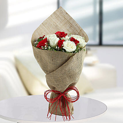 White Roses N Red Roses Bunch: Mixed Colour Flowers