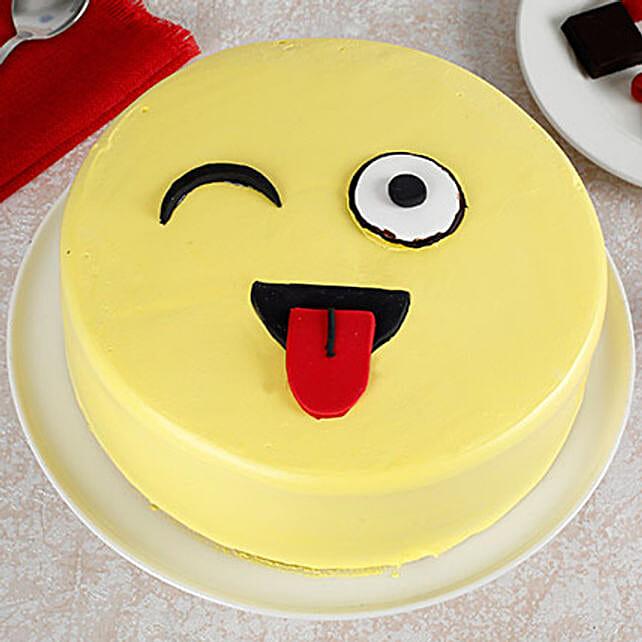 Wink Emoji Semi Fondant Cake: