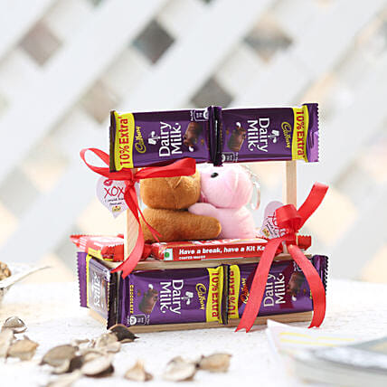 Wooden Kissing Booth With Dairy Milk Chocolates:
