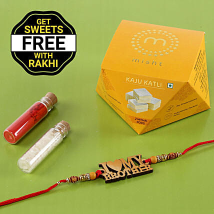 Wooden Rakhi With Free Kaju Katli Box: Rakhi Gifts