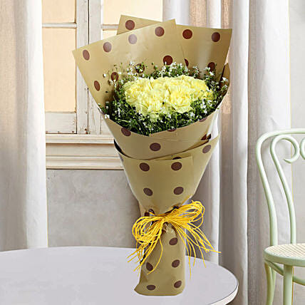Yellow Carnations In Joy: Flower bouquets for anniversary