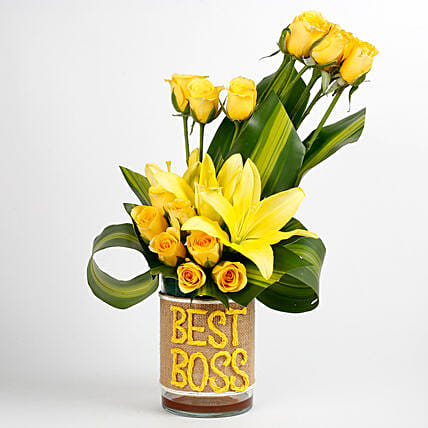 Yellow Roses Asiatic Lilies Arrangement For Best Boss Gift