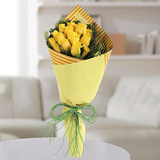 Yellow Roses Bunch: Diwali Flowers