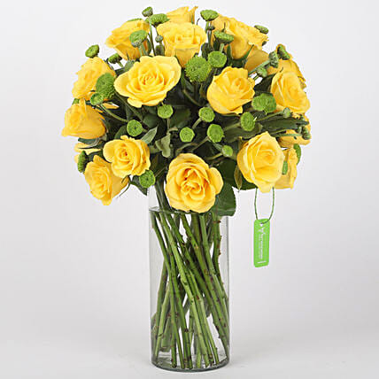 Yellow Roses & Green Daisies in Glass Vase: Vase Arrangements