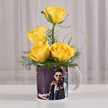 Yellow Roses in Personalised Mug: