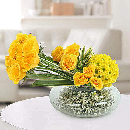 Yellow Roses N Daisies Arrangement Boss Day Gifts