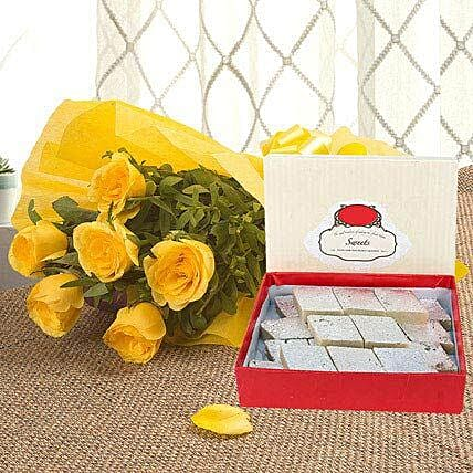 Yellow Roses N Kaju Katli: Send Flowers & Sweets