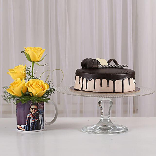 Yellow Roses Picture Mug & Chocolate Cake: