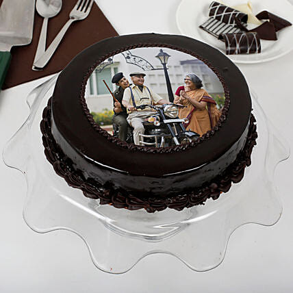Yummy Chocolate Photo Cake For Dad: Send Photo Cakes