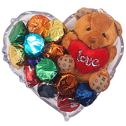 Gourmet Chocolate And Love Teddy Gift Tray: Send Gifts to Nepal