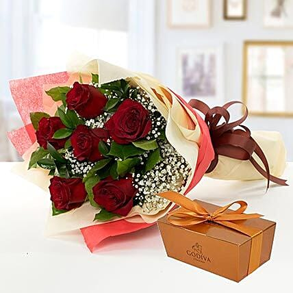 6 Red Roses and Godiva Chocolate Combo: Send Flowers to Singapore