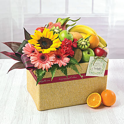 Juicy Fruits And Flowers Hamper: Send Flowers to Singapore