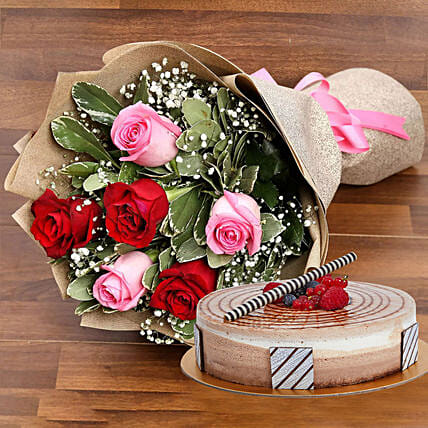 Gorgeous Roses Bouquet With Triple Chocolate Cake Birthday Gift Delivery In UAE