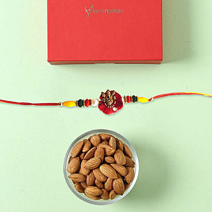 Rakhi and Almond Combo: Send Ethnic Rakhi to UAE