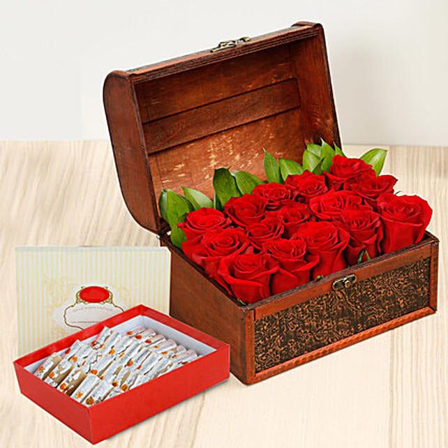 Red Roses Treasured Box With Kaju Roll: Anniversary Sweets to Dubai