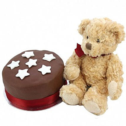 Chocolate Star Cake With Bear Birthday Delivery London