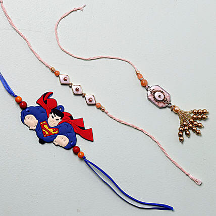 Exquisite And Funky Rakhi Set of 3:
