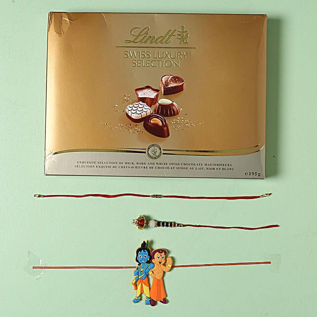 Family Rakhi set with Lindt Finest Swiss Chocolates: Rakhi Delivery in London, UK