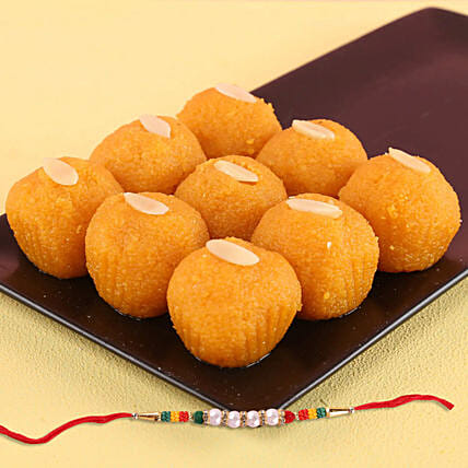 Tempting Motichoor Laddu And Rakhi Combo: Send All Rakhi to UK
