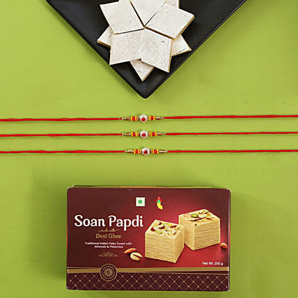 Alluring Rakhi Set And Sweet Boxes: All Rakhi to USA