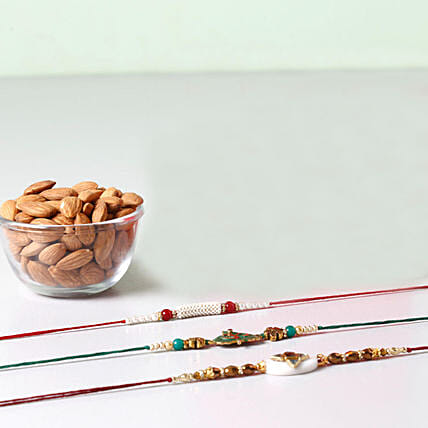 Combo of Almonds And 3 Glorious Rakhis: Set of 3 Rakhis to USA