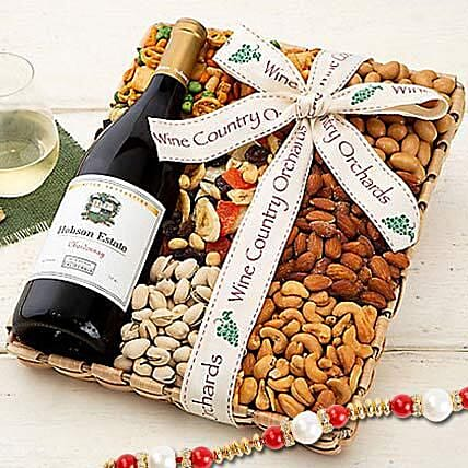 Hobson Estate Chardonnay and Mixed Nuts With Rakhi: Pearl Rakhi Delivery in USA