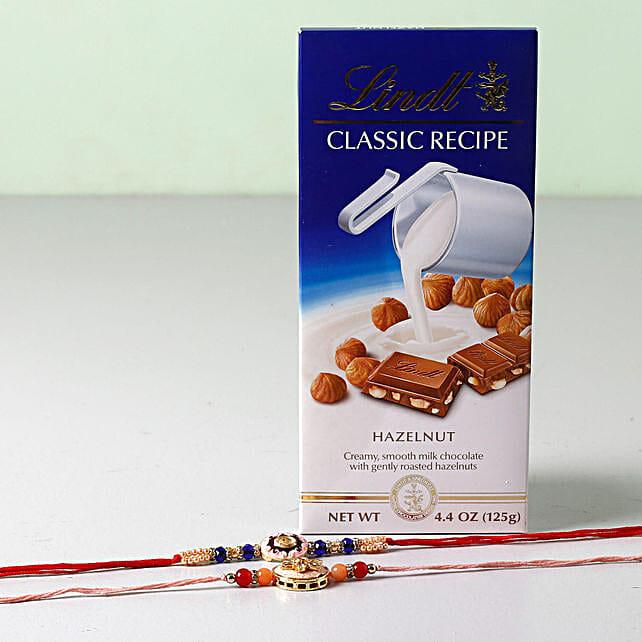 Lindt Classic With Set of 2 Rakhis: Rakhi and Chocolates USA