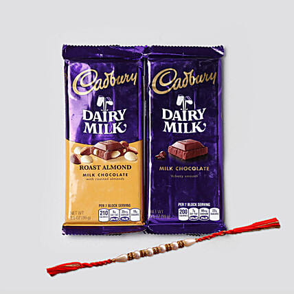 Rakhi And Dairy Milk Combo: Rakhi for Brother in USA