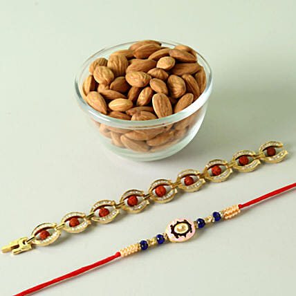 Set of 2 Rakhis And Almonds Combo: Devotional Rakhi Delivery in USA