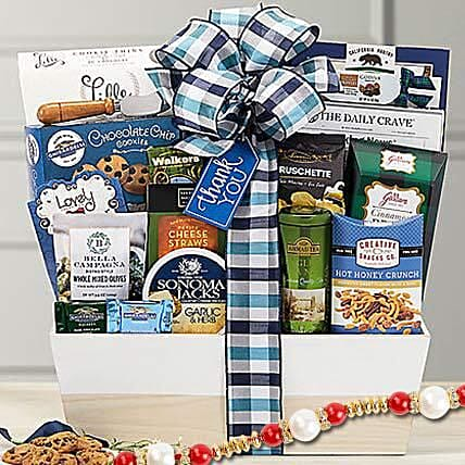 Thanks a Million Gourmet Gift Basket With Rakhi: Rakhi - Guaranteed Delivery Collection