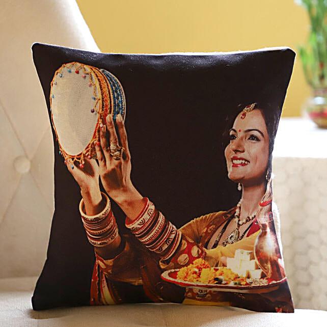 Personalised Cushion For Gorgeous Wife: Karwa Chauth Sargi to USA