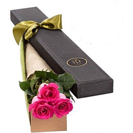 3 Pink Roses in Gift Box