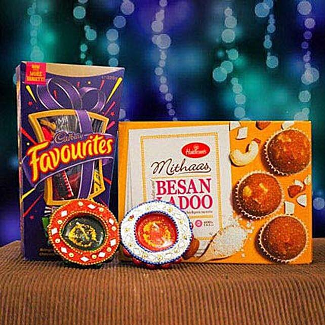 Besan Ladoo Cadbury Favourites and 2 Diya Set