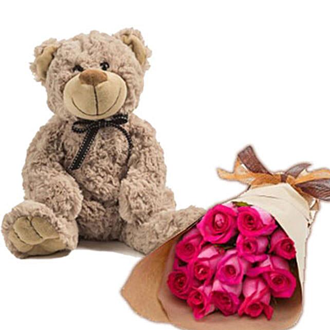 Send flowers to australia flower delivery in australia ferns n dark pink roses n teddy send flowers to australia negle Images
