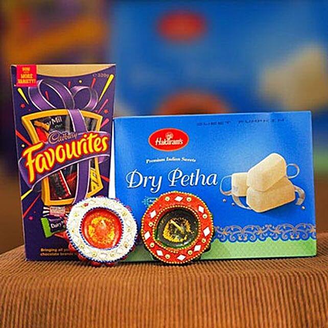 Dry Petha Cadbury Favourites 2 Diya Set