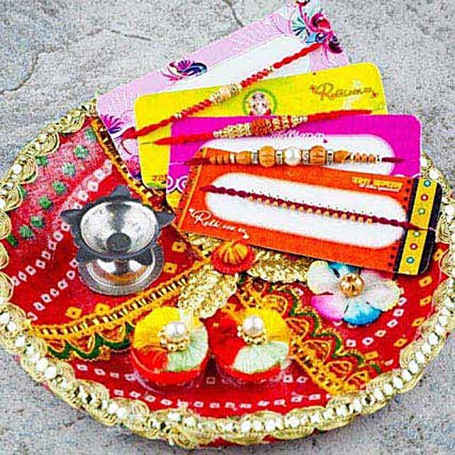Hamara Parivar Four Rakhi Set with Puja Thali