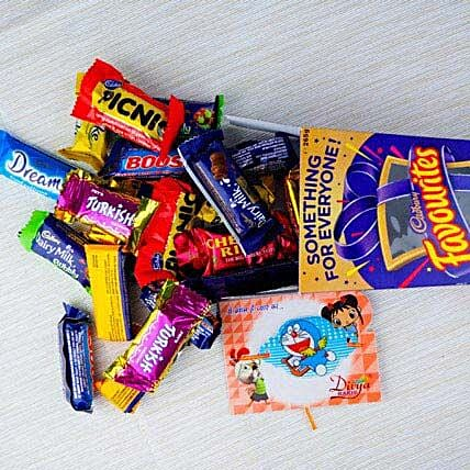 Kid Rakhi With Cadbury Favourite