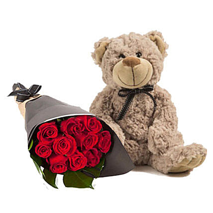 Lovely Red Roses With Brown Teddy