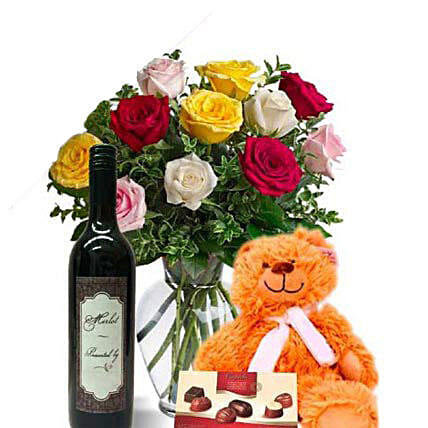 Mixed Roses Combo With Wine