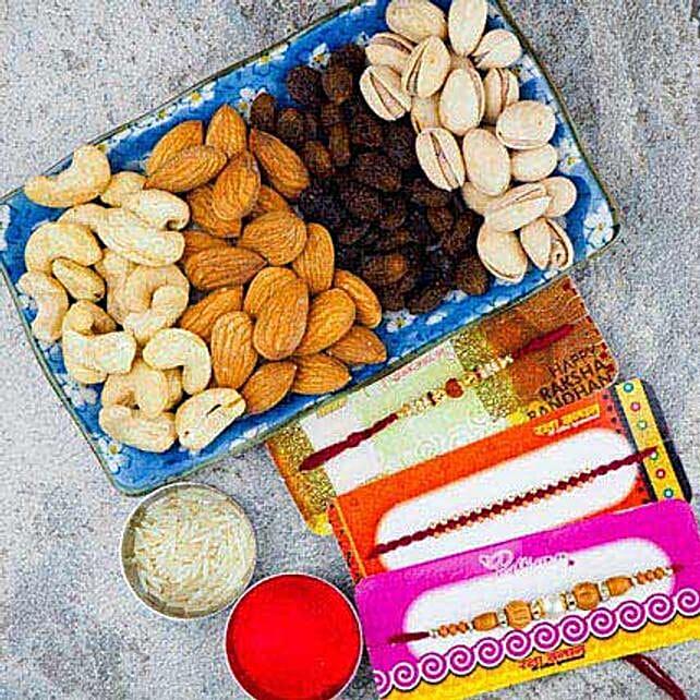 Pavitra Rishta Three Rakhi set With Dry Fruit