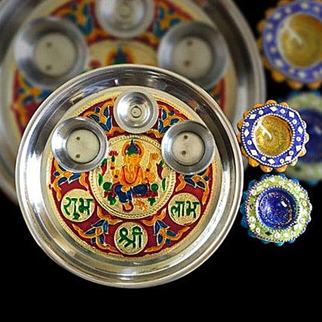 Puja Thali With Diya set