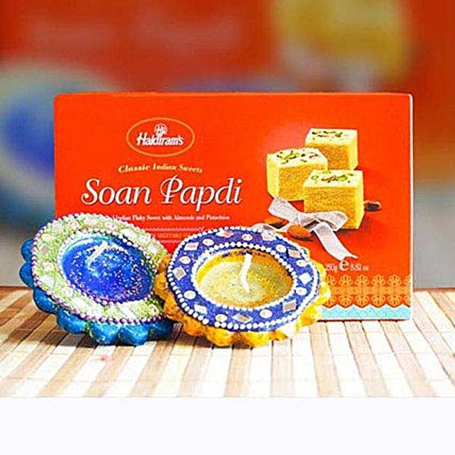 Soan Papdi With 2 Diyas