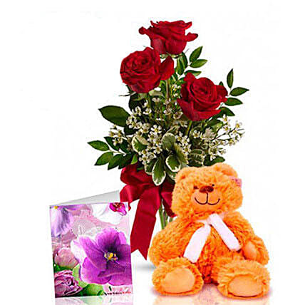 Three Red Roses With Teddy