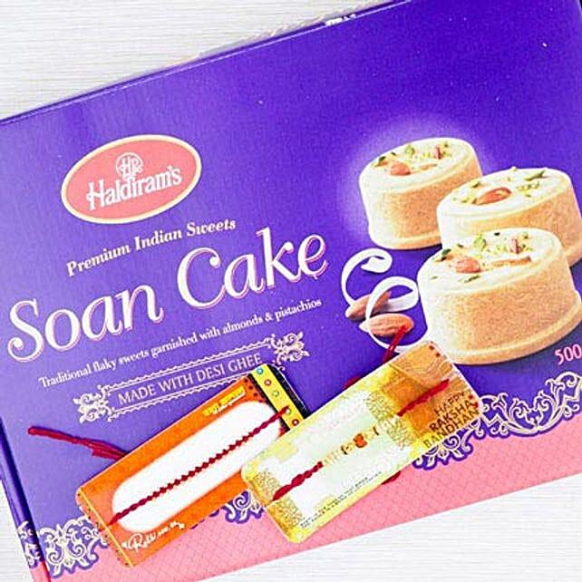 Two Rakhi With Desi Sweet Soan Cake